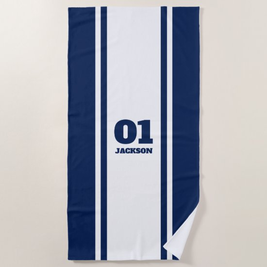 White and Navy Blue Sports Stripe Name & Number Beach Towel