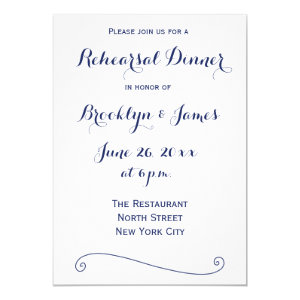 White And Navy Blue Wedding Rehearsal Invitions 5x7 Paper Invitation Card