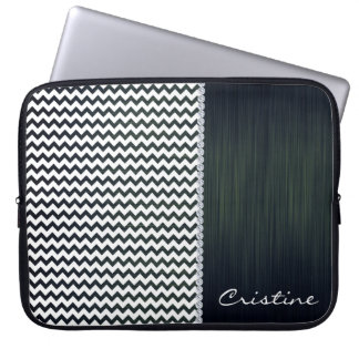 white and navy blue zigzag personalized by name computer sleeve