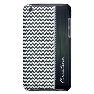 white and navy blue zigzag personalized by name iPod touch case