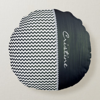 white and navy blue zigzag personalized by name round pillow