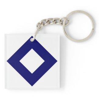 White and Navy Diamond Pattern Acrylic Keychain