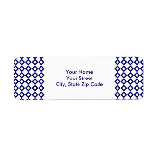 White and Navy Diamond Pattern address label