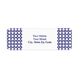 White and Navy Diamond Pattern address label