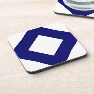 White and Navy Diamond Pattern Beverage Coasters