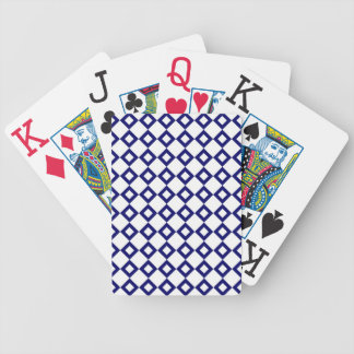 White and Navy Diamond Pattern Bicycle Playing Cards