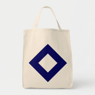 White and Navy Diamond Pattern Canvas Bag