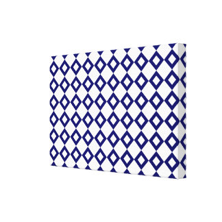 White and Navy Diamond Pattern Canvas Print