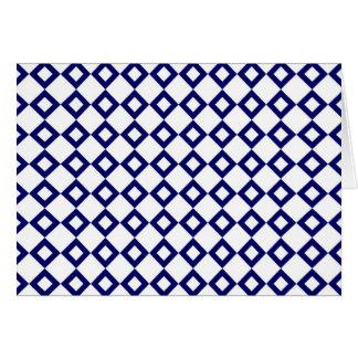 White and Navy Diamond Pattern Card