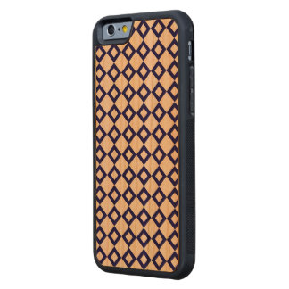White and Navy Diamond Pattern Carved Cherry iPhone 6 Bumper Case