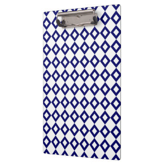 White and Navy Diamond Pattern Clipboard