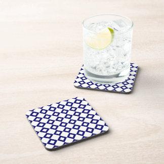 White and Navy Diamond Pattern Coaster