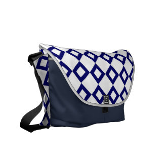 White and Navy Diamond Pattern Courier Bag