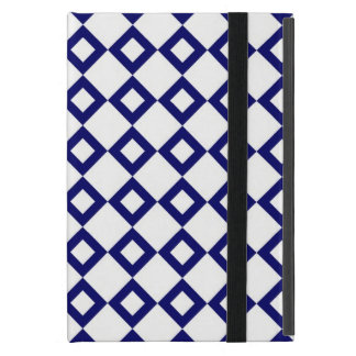 White and Navy Diamond Pattern Cover For iPad Mini
