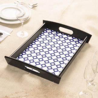 White and Navy Diamond Pattern Food Tray