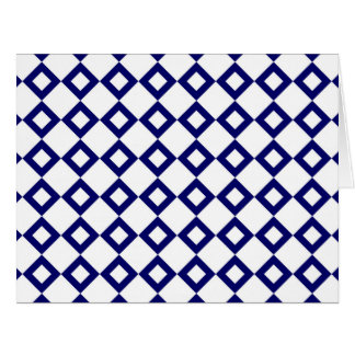 White and Navy Diamond Pattern Greeting Cards