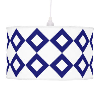 White and Navy Diamond Pattern Hanging Lamp