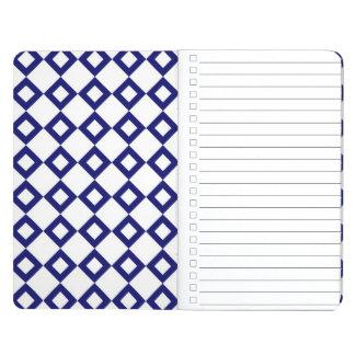 White and Navy Diamond Pattern Journal