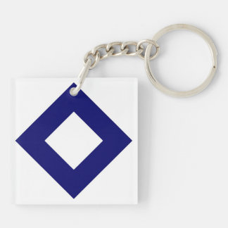White and Navy Diamond Pattern Double-Sided Square Acrylic Keychain