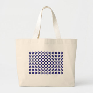 White and Navy Diamond Pattern Large Tote Bag