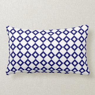 White and Navy Diamond Pattern Lumbar Pillow
