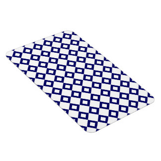 White and Navy Diamond Pattern Magnet