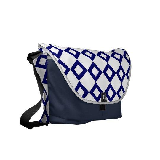 White and Navy Diamond Pattern Messenger Bag