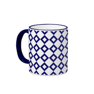 White and Navy Diamond Pattern Mugs