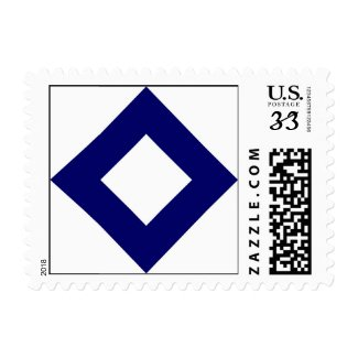 White and Navy Diamond Pattern Postage Stamp