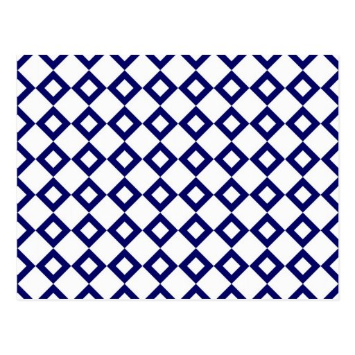 White and Navy Diamond Pattern Postcard