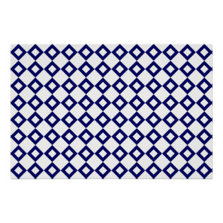 White and Navy Diamond Pattern Poster