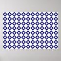 White and Navy Diamond Pattern