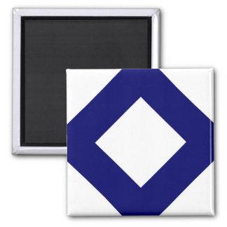 White and Navy Diamond Pattern Refrigerator Magnet