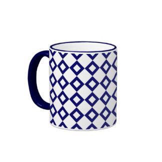 White and Navy Diamond Pattern Ringer Mug