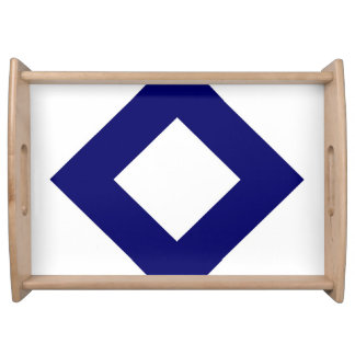 White and Navy Diamond Pattern Serving Trays