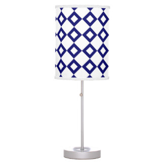 White and Navy Diamond Pattern Table Lamp