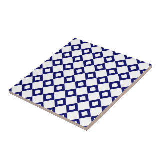 White and Navy Diamond Pattern Tile