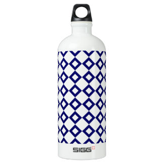 White and Navy Diamond Pattern Water Bottle