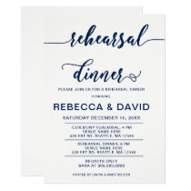 white and Navy Elegant Script Rehearsal Dinner Card