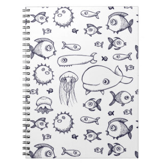 White and Navy Fish Drawing Notebook