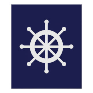 White and Navy Nautical Ship Wheel Poster
