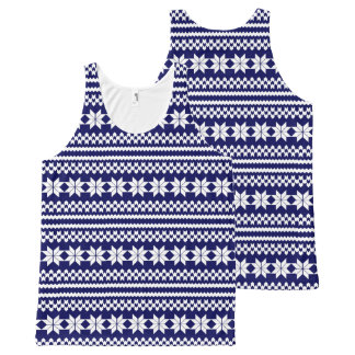 White and Navy Nordic Christmas Sweater Pattern All-Over-Print Tank Top