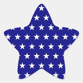 White and Navy Star Pattern Star Sticker