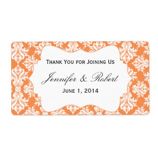 White and Nectarine Damask Water Bottle Label Shipping Label