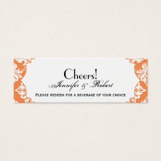 White and Nectarine Damask Wedding Drink Ticket