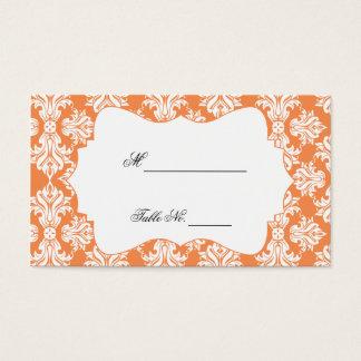 White and Nectarine Damask Wedding Place Cards