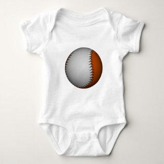 White and Orange Baseball Baby Bodysuit