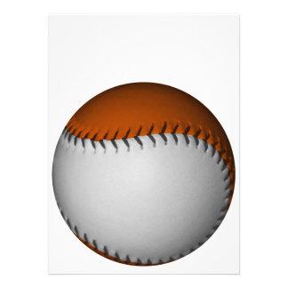 White and Orange Baseball Personalized Invitations