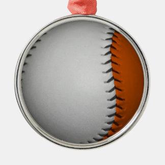 White and Orange Baseball Metal Ornament