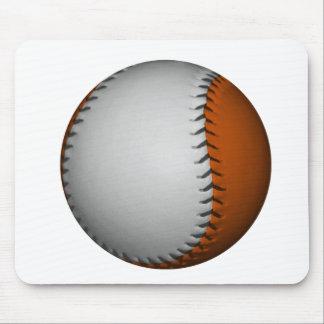 White and Orange Baseball Mouse Pad